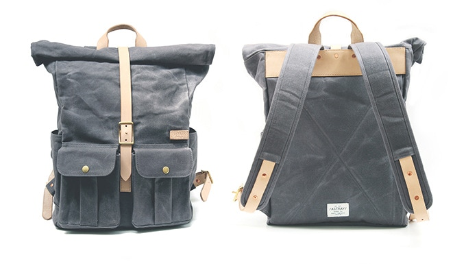 Astray Rolltop Backpack in Gray / Vachetta