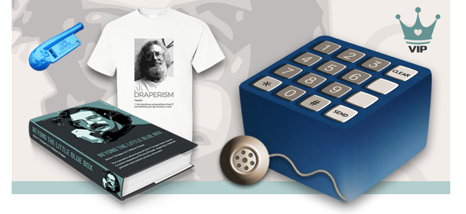 Exclusive Blue Box styled Collector's Box; Signed, hard-cover book; Limited edition 'DRAPERISM' T-Shirt, signed by Crunchman and numbered (eg 4 of 50); Replica Whistle; Blue Box Earpiece Bookmark; Vector of book artwork or 2600 poster; VIP website access