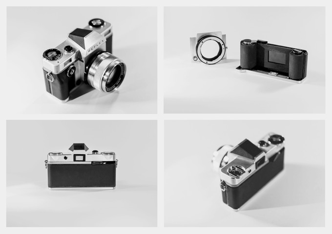 The Reflex I camera with I-Plate and I-Mount, and left-centered flash hot shoe