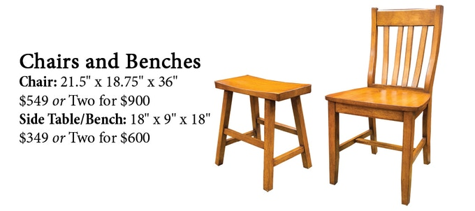 Click here to read more about our Chairs and Side Tables/Benches on our website!