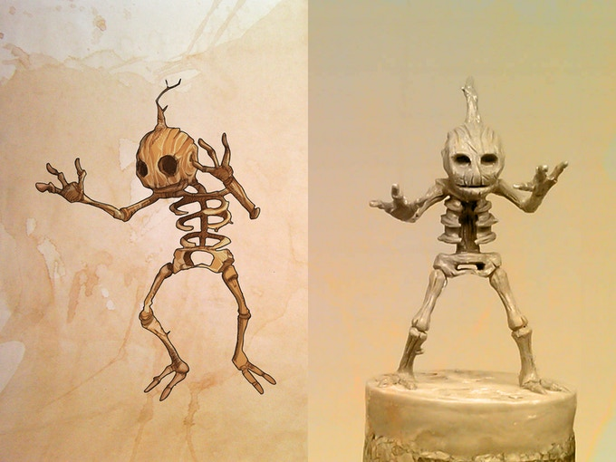 Wooden Skeleton illustrated by Gius and sculpter by Christophe Bauer