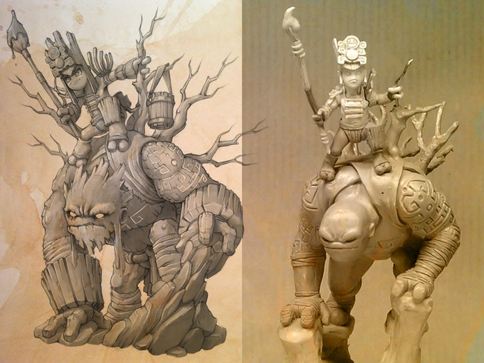 Koloss concept illustrated by Kev DC and sculpted by Christophe Bauer (WIP)
