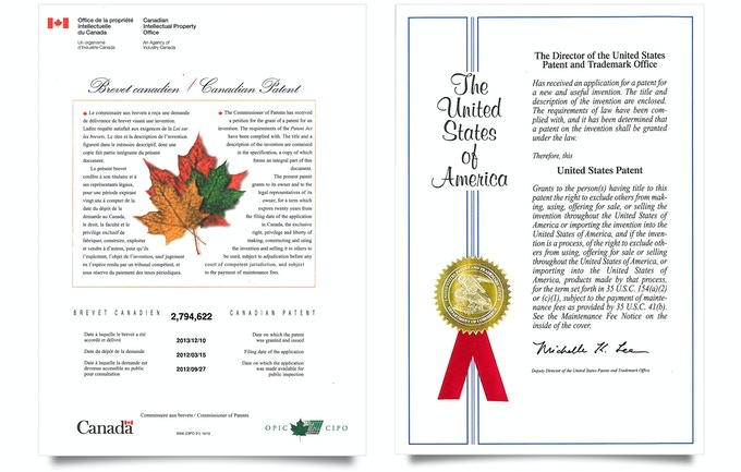 Approved patents in two of the biggest hockey countries – Canada and The United States.