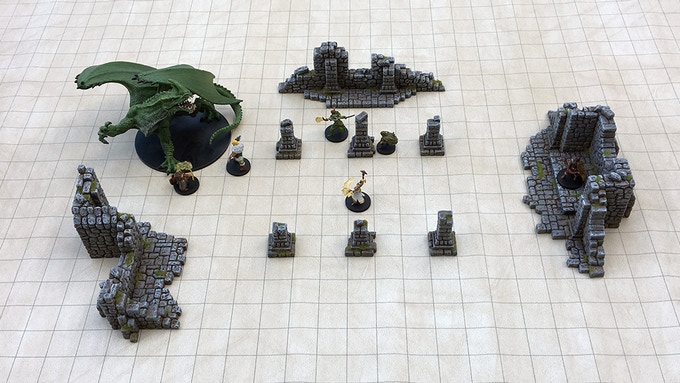 "Set 2 - ""Abandoned Church"" on a 1"" grid mat and 28mm scale miniatures."
