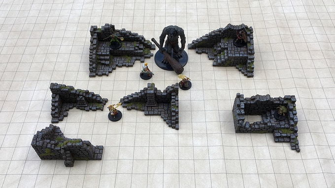 "Add On pieces on a 1"" grid mat and 28mm scale miniatures."