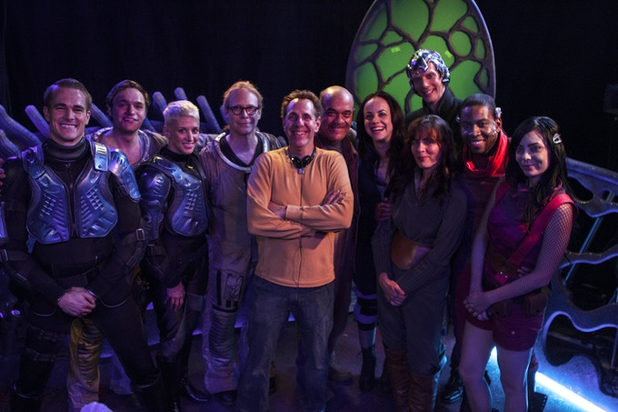 Creator Marc Zicree on set with some of the cast of Space Command