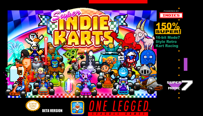 SNES style retro '90s kart racer fun for 1-4 players filled with some amazing characters from awesome Indie games. +New Battle Modes!