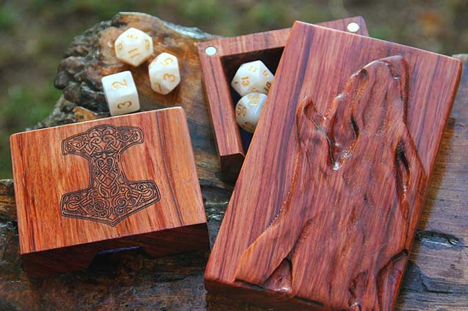 Bubinga with Howling Wolf Sculpted Design and Mjolnir Engraving.