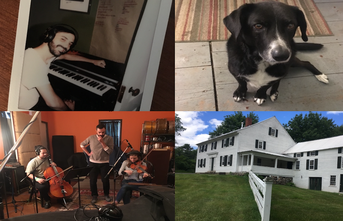 Clockwise from upper left: Sam Kassirer (The Producer of the Record!) // Lucy The Dog // The Studio! Great North Sound Society // Cristobal (Cello) & Jenna (Violin)