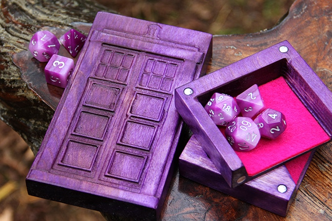 Royal Purple Dice Tower with Police Box Sculpted Design and Purple Felt.