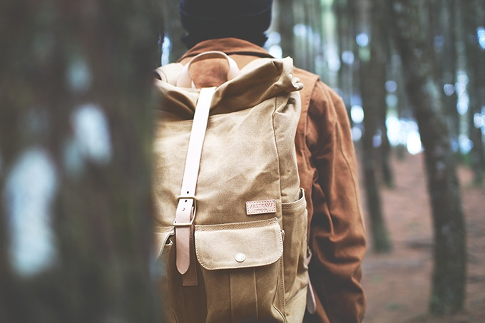 Astray Rolltop Backpack in Mustard / Vachetta