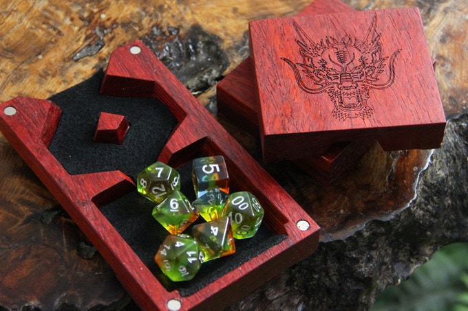 Padauk Dice Tower with Dragon 2 Engraving and Black Felt.
