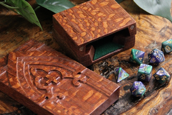 Leopardwood Dice Tower with Arch Sculpted Design and Green Felt.