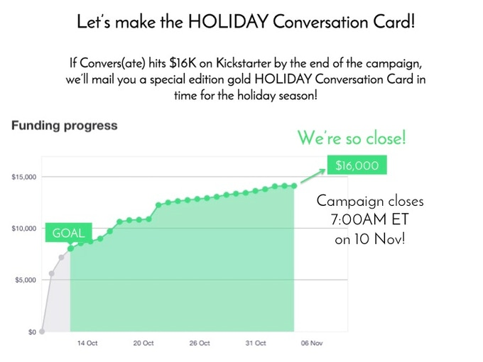 Our Stretch Goal and a Holiday Conversation Card are at the Finish Line!