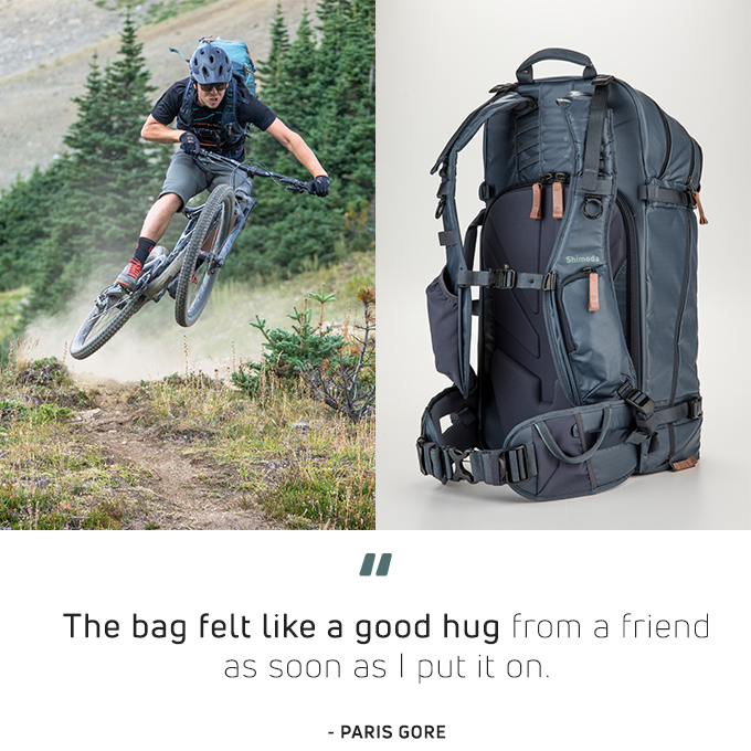 Team Shimoda member Paris Gore hits the trails with his 60L. Image by Ian Millar