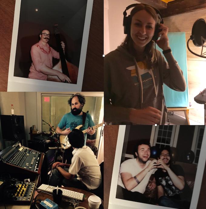 Clockwise from upper left: Zachariah Hickman (Bass) // Me // Sean Trischka (Drums) & Ariel Bernstein (Engineering + Drums) // Josh Kaufman (Additional Guitars)