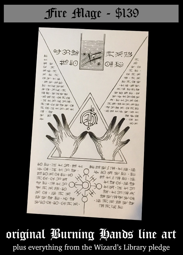 This is the original line drawing for the Burning Hands scroll (8.5 by 14 on marker paper) plus the content of the Wizard's Library.