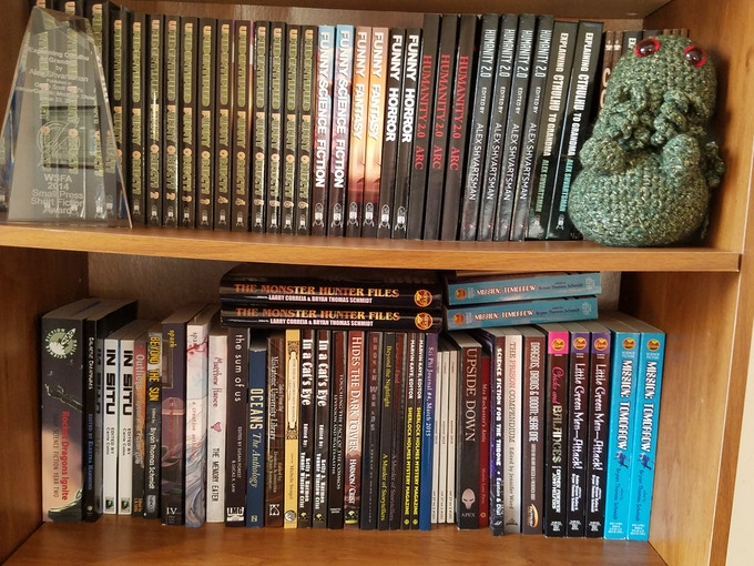 The Brag Shelves: Books I edited, wrote, or appeared in.