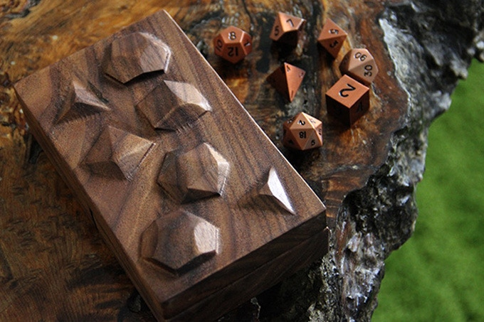 Black Walnut Dice Tower with Polys Sculpted Design.