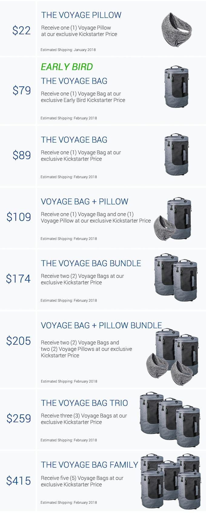 Choose your Voyage Bag reward today