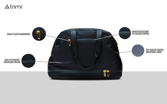 A fully convertible bag that keeps clean/dry clothes away from  your dirty/wet clothes. Coated liner is moisture & odor resistant.