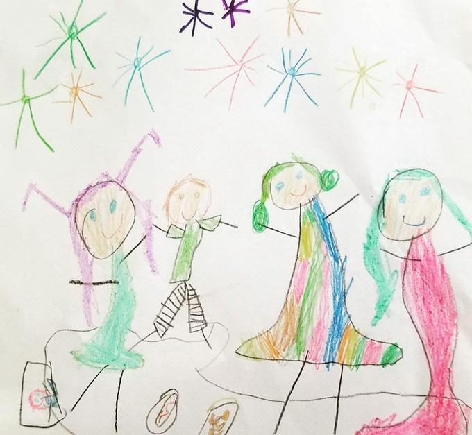 Drawing of our colorful family by Anni Bosio