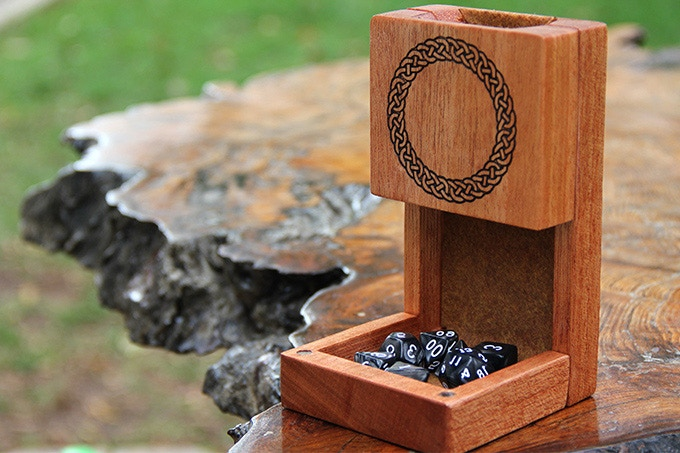 African Mahogany Dice Tower with Celtic Circle Engraving and Rust felt.