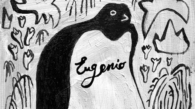 An example of the individual penguin with your name in oil painting on canvas