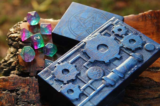 Sapphire Dice Tower with Cogs Sculpted Design and Star Engraving.