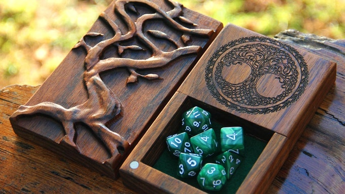 Benge Dice Tower with Yggdrasil Design, Yggdrasil Engraving, and Green felt.