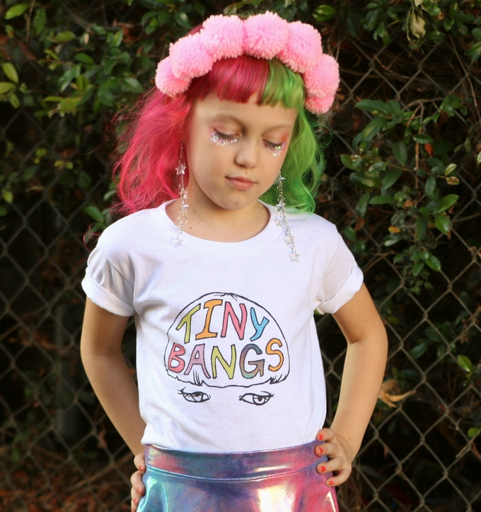 Tiny Bangs T-Shirt Available in Kids' and Adult Sizes (Photo by Nicolette Daskalakis)