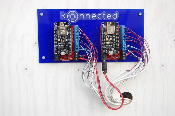 This installation uses two Konnected Alarm panels to connect 12 doors, windows and motion sensors in a large house.