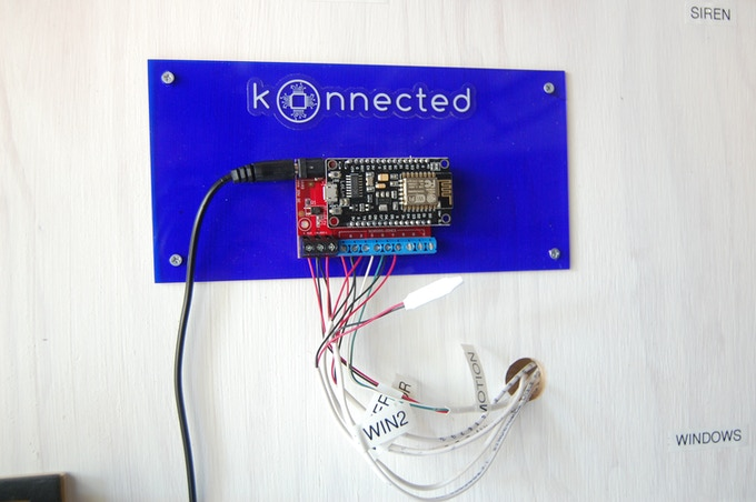 The Konnected Alarm Panel is a little smaller than a credit card and weighs less than 4 ounces.