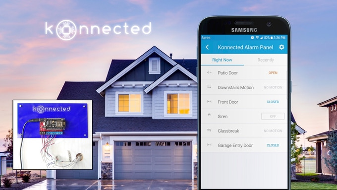 The Konnected Alarm Panel connects to your existing home alarm system wiring turning your home into a smart home!