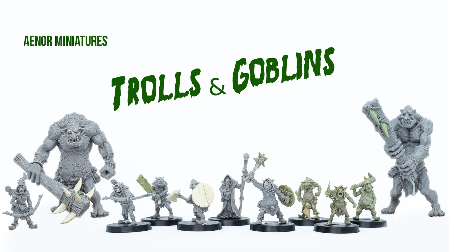 A small warband of Goblins and Trolls, but with your help they could grow into an army! These miniatures are cast in metal and resin.
