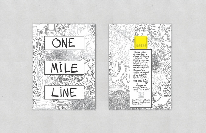 ONE MILE LINE comes folded, like an accordion book, in a custom-designed envelope.