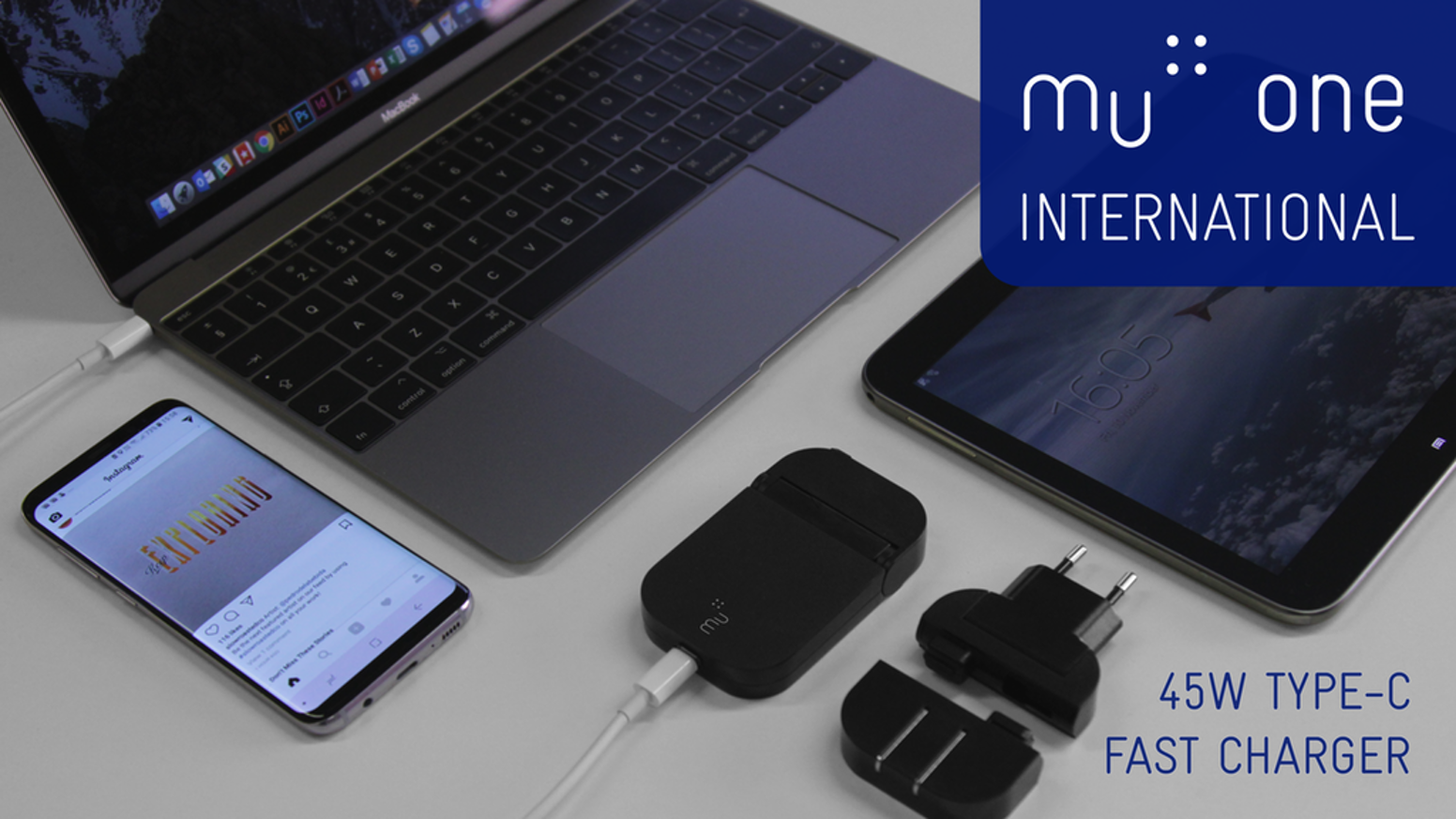 The ultimate charger for anyone on the go. Super slim and with a huge 45W of power, the Mu One charges smartphones, tablets & notebooks.