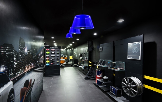 Application example in a car showroom (photomontage, concept)