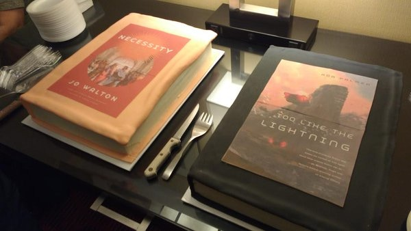 Cake bookcovers, from a party at Balticon 2016