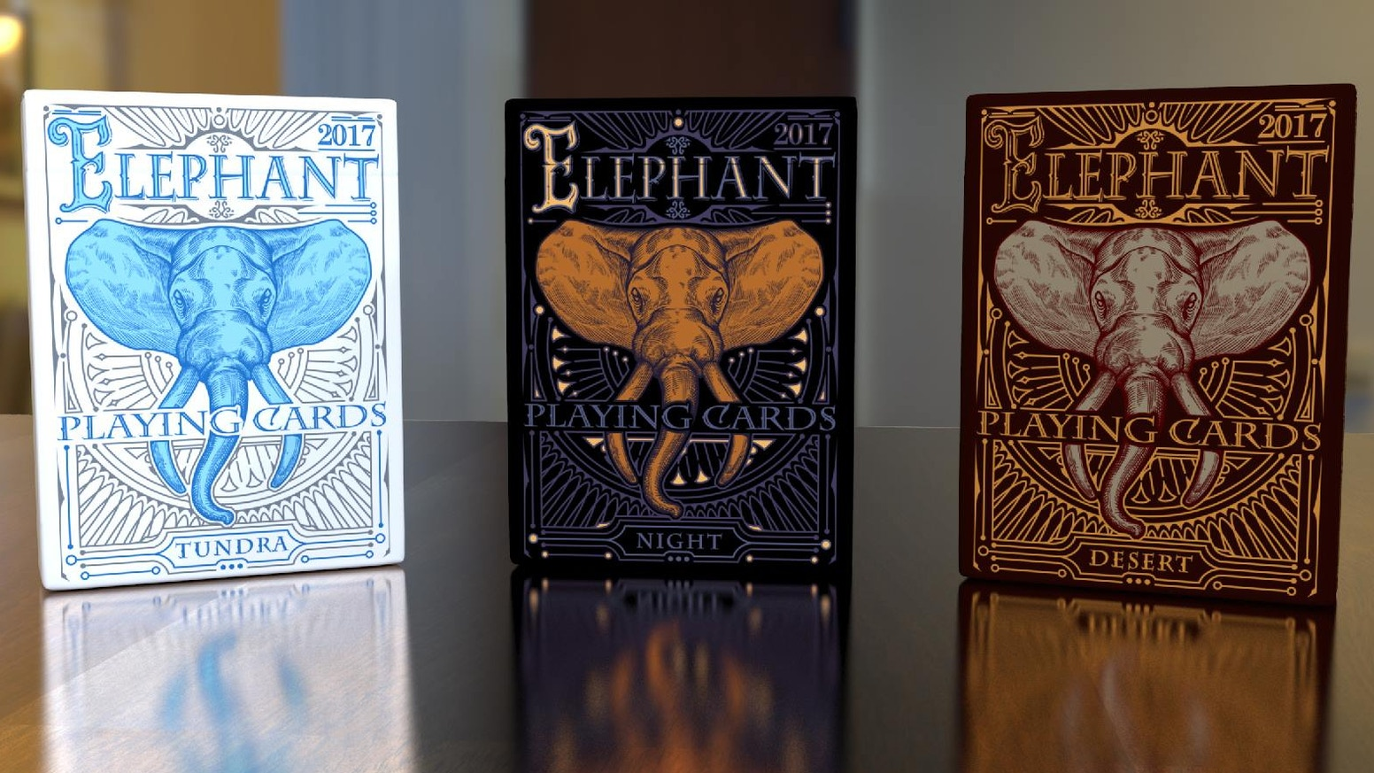 Custom poker size playing cards. Embodying the majesty of the mighty Elephant, these cards are designed with a timeless beauty.