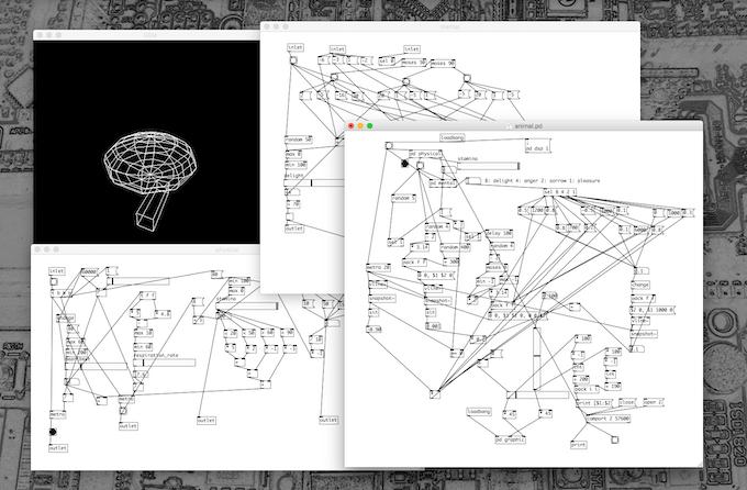 The rule of sensory-motor feedback was also brushed up using simulator depicted here. | センサとモータをつなぐ制御ルールについてもブラッシュアップを行ってきました。