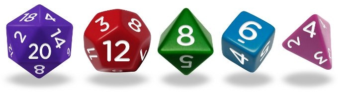 The 4, 6, 8, 12 and 20 sided dice. These are the only 5 possible dice with all their sides and corners equal.