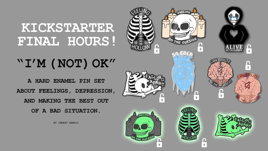I'm (Not) OK - Hard Enamel Pin Set by Stefanie Black
