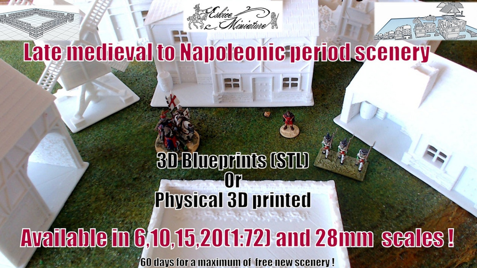 A complete set of scenery for the medieval to Napoleonic period wargames for the 6, 10, 15, 20 & 28mm. Blueprint .stl available.