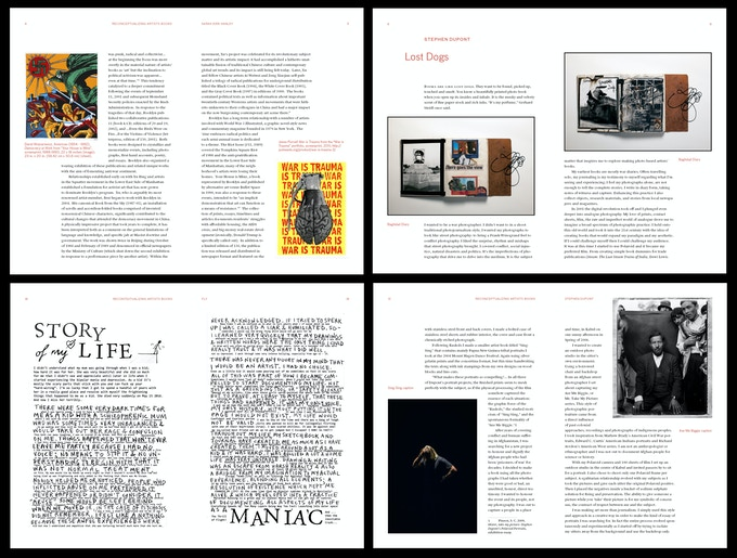 A preview of page layouts for Freedom of the Presses: Artists' Books in the 21st Century.