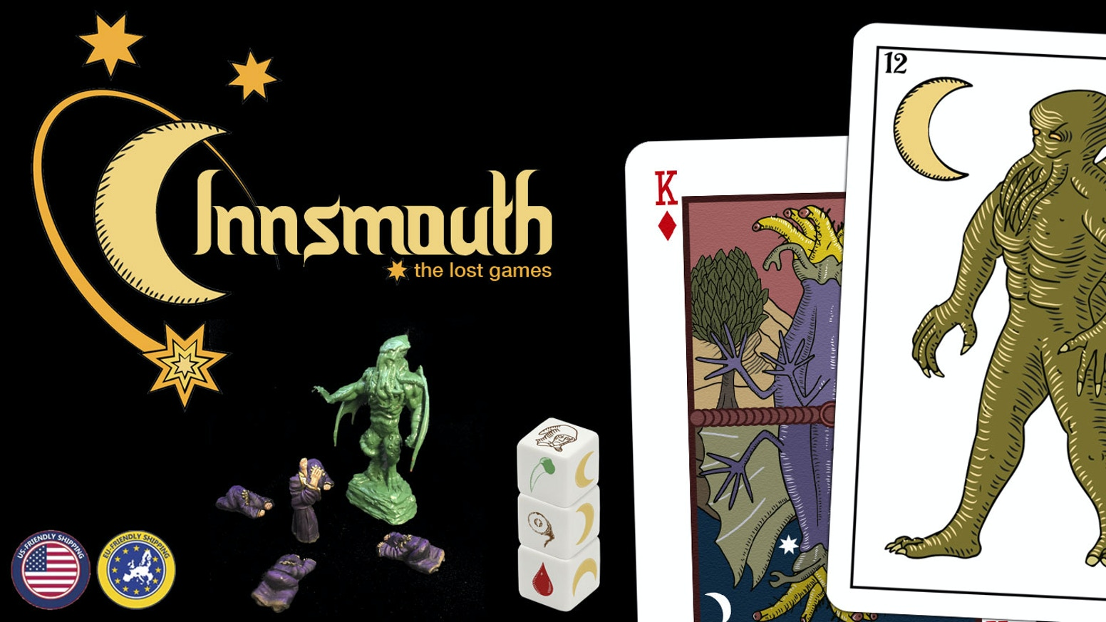 "Original french & spanish decks of Innsmouth & ""The cult"" dice game with cultists and Cthulhu minis."