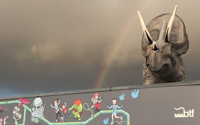 "Our main base ""Studio König"" – famous for the lavish Hoppenbrock mural and the impressive triceratops gargoyle on it's roof"