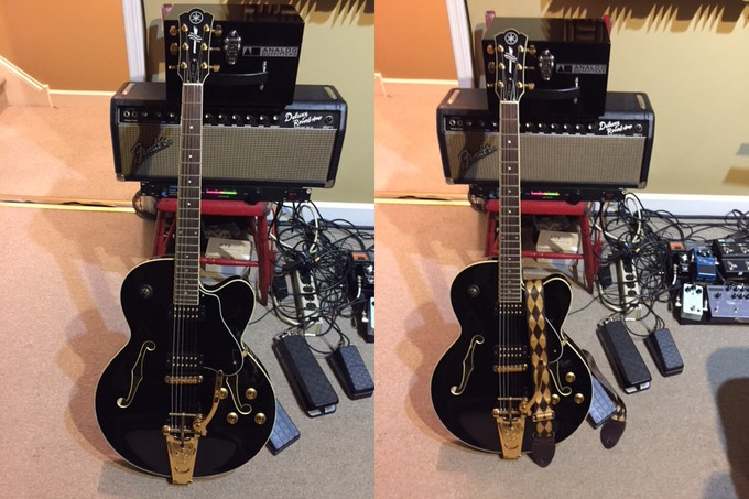 My Yamaha AES1500B, with and without the strap.
