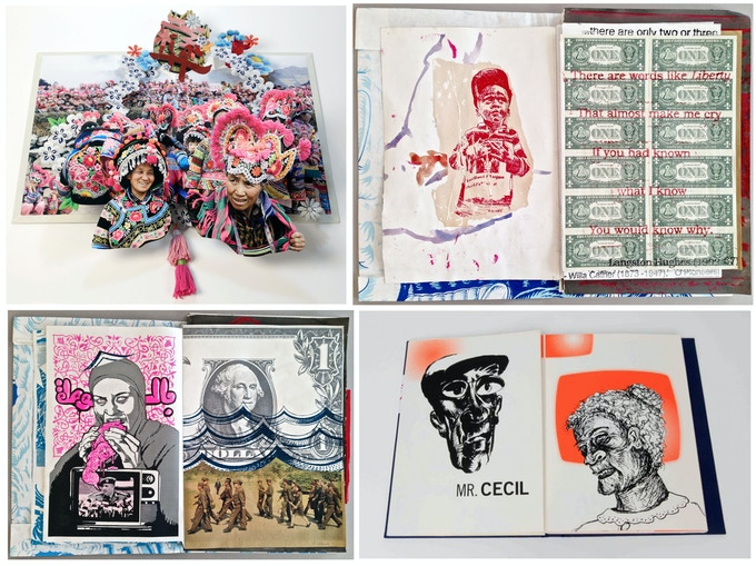 "Select Booklyn Artists & Publications: clockwise, Colette Fu; Various Artists from Booklyn's ""Nothing is True"" collage book;  ""Scream at the Librarian"" with illustrations by Raymond Pettibon and Cristin Sullivan"