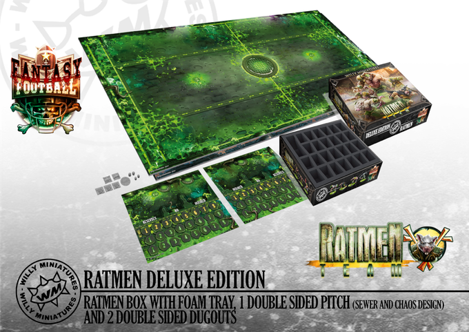 The Deluxe Box includes a double sided cardboard pitch, 2 double sided dugouts and a foam tray to storage your miniatures, dice, tokens, etc